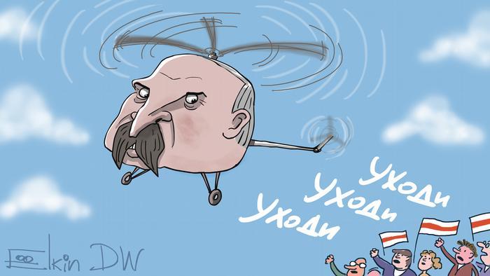 Александр Лукашенко летит на вертолете, внизу толпа кричит: Уходи. Карикатура Сергея Елкина
