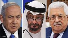 Bildkombo | Benjamin Netanjahu | Mohamed bin Zayed | Mahmoud Abbas