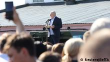 Belarusian President Alexander Lukashenko addresses workers as he visits the plant of the heavy off-road vehicles manufacturer MZKT in Minsk, Belarus August 17, 2020. Nikolai Petrov/BelTA/Handout via REUTERS ATTENTION EDITORS - THIS IMAGE HAS BEEN SUPPLIED BY A THIRD PARTY. NO RESALES. NO ARCHIVES. MANDATORY CREDIT.