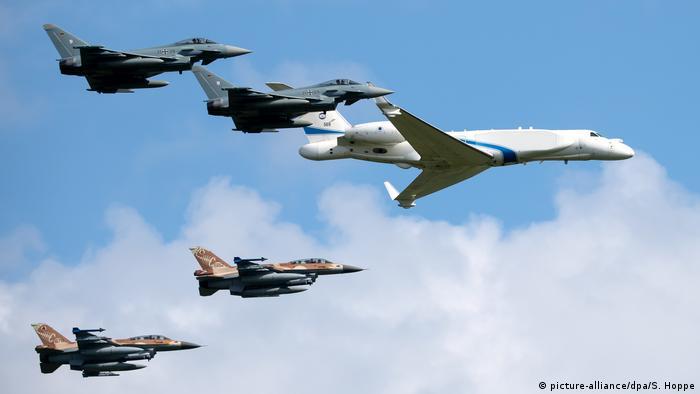 Israeli and German planes fly over Fürstenfeldbruck