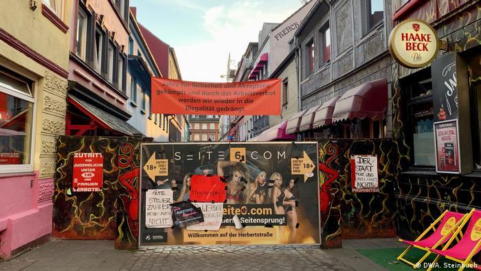 Germany Hamburg Reeperbahn brothel protest over coronavirus closures