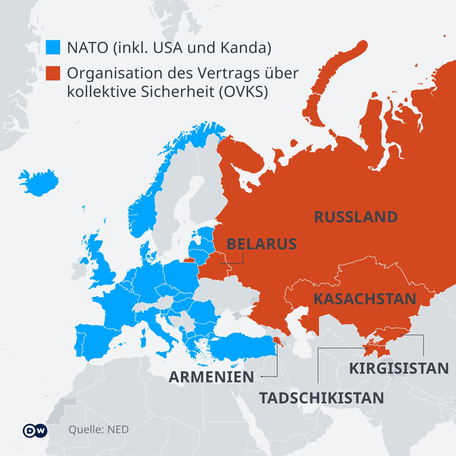 Infografik/Karte - NATO vs. OVKS - DE