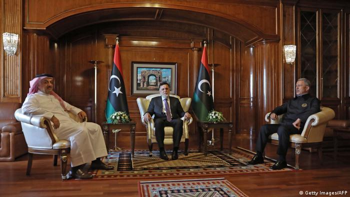 رئيس حكومة الوفاق فايزالسراج يستقبل وزير خارجية قطر ووزير الدفاع التركي (طرابلس 17 أغسطس/ آب 2020)