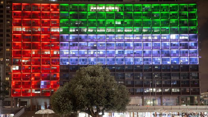 Tel Aviv city hall lit up with the UAE flag