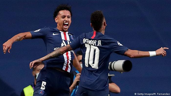 PSG's Marquinhos celebrates his opener with compatriot Neymar.