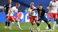 Paris Saint-Germain's Brazilian forward Neymar ( 2nd R) fights for the ball with Leipzig's Spanish midfielder Dani Olmo (L) and Leipzig's Slovenian midfielder Kevin Kampl during the UEFA Champions League semi-final football match between Leipzig and Paris Saint-Germain at the Luz stadium in Lisbon on August 18, 2020. (Photo by David Ramos / POOL / AFP) (Photo by DAVID RAMOS/POOL/AFP via Getty Images)