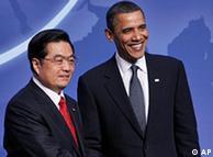 President Barack Obama greets Chinese President Hu Jintao
