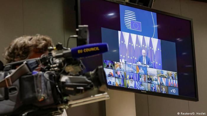 Tela mostra líderes europeus reunidos em videoconferência