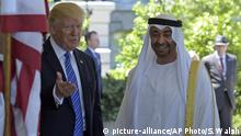 President Donald Trump welcomes Abu Dhabi's Crown Prince Sheikh Mohammed bin Zayed Al Nahyan to the White House in Washington, Monday, May 15, 2017. (AP Photo/Susan Walsh) |