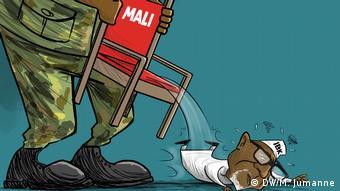 C'est ainsi que notre caricaturiste Meddy Jumanne voit la démission du Président Ibrahim Boubacar Keita au Mali: jeté par les militaires