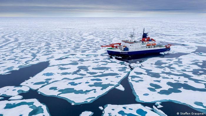 Navio Polarstern em meio a blocos de gelo.