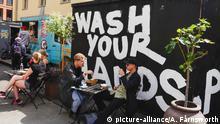 Gothenburg, Sweden A wash your hands sign at the Artilleriet cafe in downtown. | Verwendung weltweit