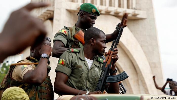 Soldiers at a protest against ECOWAS block in Bamako, Mali