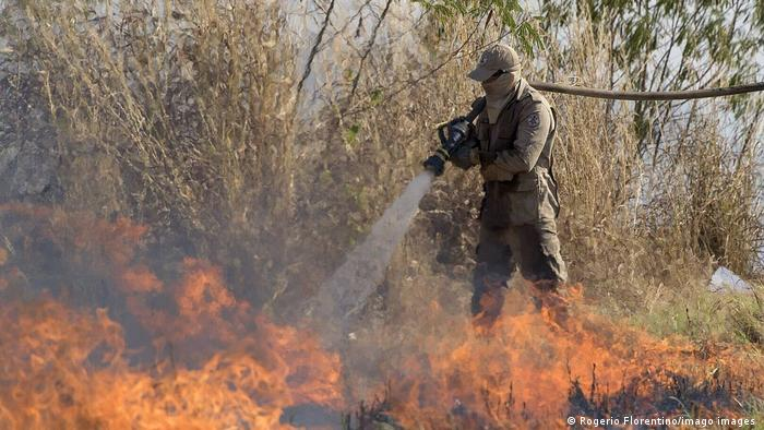 A firefighter puts out a blaze in the Amazon in Brazil (mago images/Agencia EFE/Getty Images/AFP/R. Florentino)