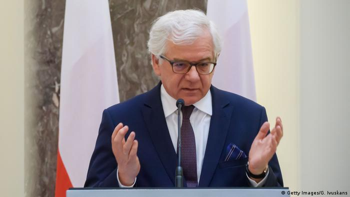 Polish Foreign minister Jacek Czaputowicz at a press conference