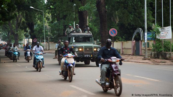 Malian military drive through the streets of Bamako