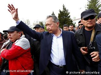 Kurmanbek Bakiyev during a rally of his supporters at the square