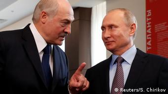 Президент Беларуси Александр Лукашенко и президент России Владимир Путин в Сочи, 15 февраля 2019 года