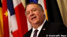 U.S. Secretary of State Mike Pompeo speaks to reporters following a meeting with members of the U.N. Security Council about Iran's alleged non-compliance with a nuclear deal and calling for the restoration of sanctions against Iran at U.N. headquarters in New York, U.S., August 20, 2020. REUTERS/Mike Segar/Pool