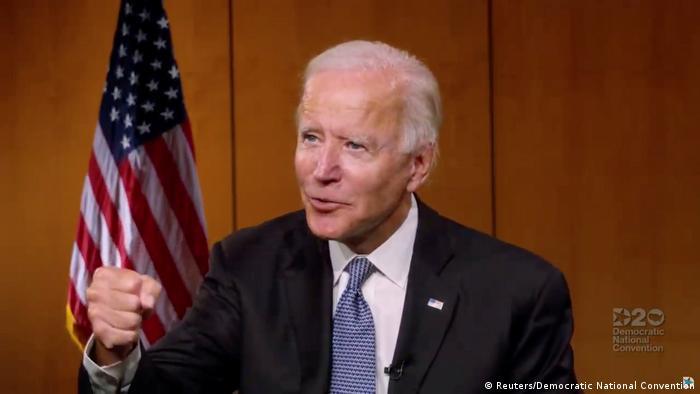 USA   Wisconsin   Joe Biden spricht in der 4. und letzten Nacht des Demokratischen Nationalkonvents 2020 mit Gewerkschaftsarbeitern (Reuters/Democratic National Convention)