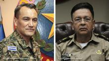 El Salvador Ex-Verteidigungsminister Jose Atilio Benitez (L) David Munguia Payes