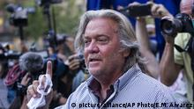 President Donald Trump's former chief strategist Steve Bannon speaks with reporters after pleading not guilty to charges that he ripped off donors to an online fundraising scheme to build a southern border wall, Thursday, Aug. 20, 2020, in New York. (AP Photo/Eduardo Munoz Alvarez) |