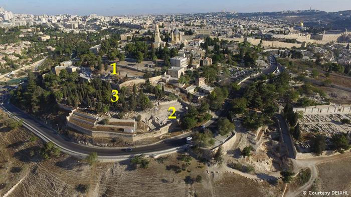A panoramic view of Jerusalem showing markings for the current excavation sites of the German Protestant Institute of Archaeology