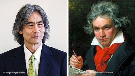 Kent Nagano on the left; Beethoven on the right