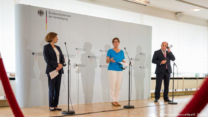 The ministers at a press conference