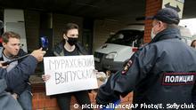 Russland Omsk Navalny im Krankenhaus Protest