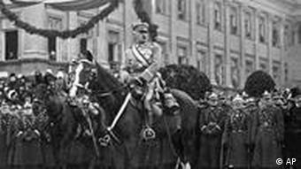 Polish dictator and military leader Marshall Josef Pilsudski, during a review in Warsaw, Nov. 5, 1927. (AP Photo)