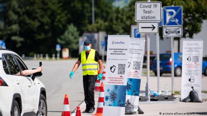 Coronavirus | Bayern | Teststation Eurofins Rastanlage A3 (picture-alliance/dpa/S. Hoppe)