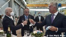 Themenbilder Wahl in Montenegro: President and prime minister of Montenegro, Milo Djukanovic and Dusko Markovic. They are, also, president and deputy president of ruling Democratic Pary of Socialists of Montenegro (DPS). The source is Government of Montenegro