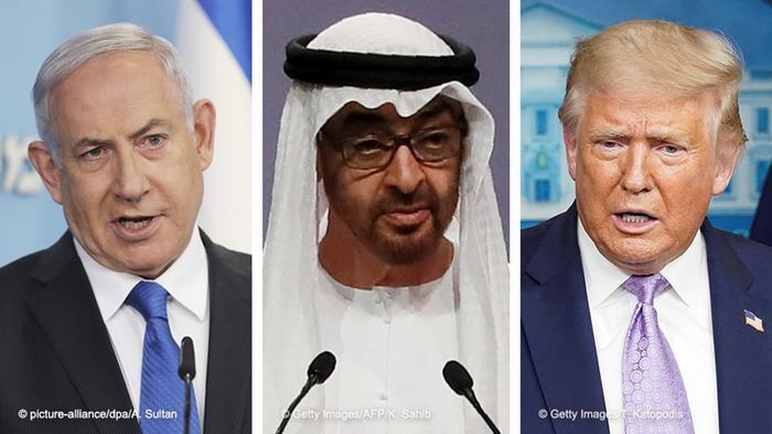 Bildkombo - Benjamin Netanjahu, Mohammed bin Zayed Al Nahyan und Donald Trump