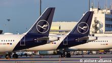 Deutschland, Airbus A321 geparkte Flugzeuge der Lufthansa