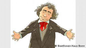 Hola, Beethoven: una caricatura del músico recibe a los chicos con los brazos abiertos.