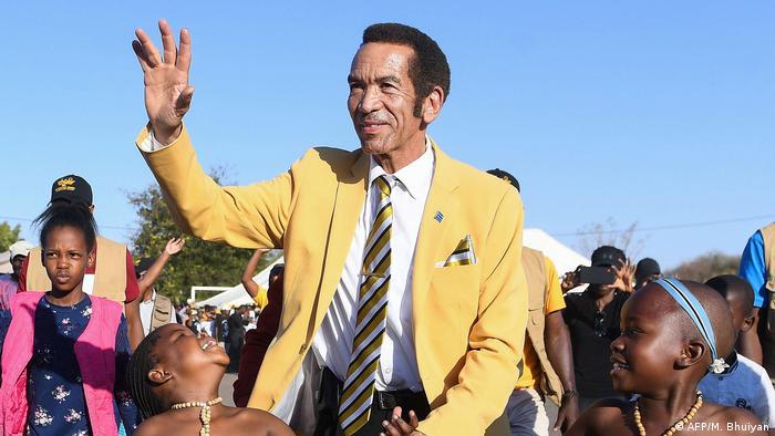 Der frühere Präsident von Botswana, Ian Khama Sereste, bei einer Wahlkampfveranstaltung 2019