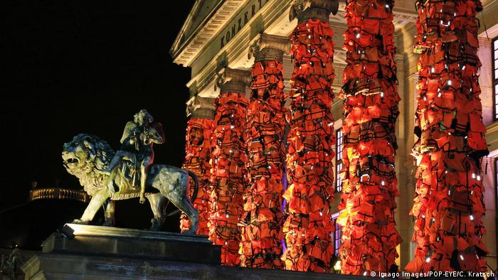 Life jackets are attached to the columns at the Konzerthaus in central Berlin