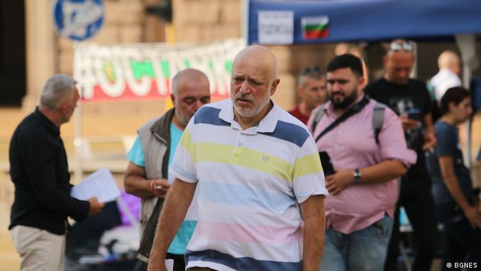 Welislaw Minekow bei Protesten gegen die Regierung