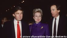 ARCHIV 1990? *** August 14, 2020: President Trump's youngest brother Robert Trump is hospitalized in New York, the White House confirmed Friday. FILE PICTURE: November 12, 2016, New York, New York, USA: DONALD TRUMP, left, sister MARYANNE TRUMP BARRY, brother ROBERT TRUMP, right. (Credit: |