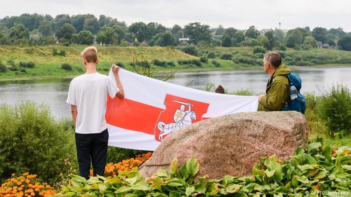 Lettland Piedruja | Solidaritätsdemo mit Opposition in Belarus