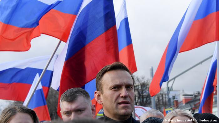 Alexei Navalny takes part in a march in memory of murdered Kremlin critic Boris Nemtsov