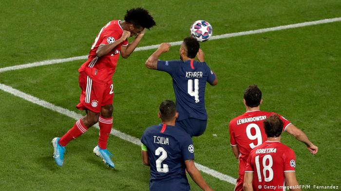Kingsley Coman heads in the Champions League winner