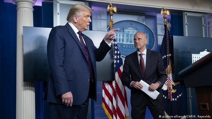 Presidente dos EUA, Donald Trump, durante uma coletiva de imprensa na Casa Branca