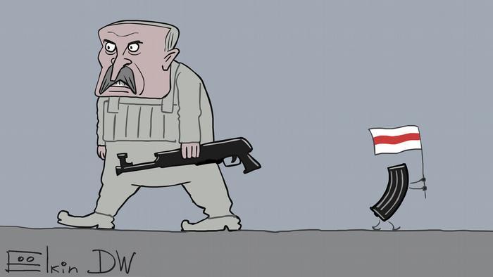 Лукашенко идет с автоматом без магазина, а магазин - в другую сторону с бело-красно-белым флагом