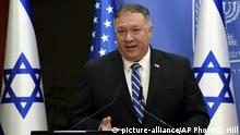 U.S. Secretary of State Mike Pompeo and Israeli Prime Minister Benjamin Netanyahu make joint statements to the press after their meeting, in Jerusalem, Monday, Aug. 24, 2020. (Debbie Hill/Pool via AP) |
