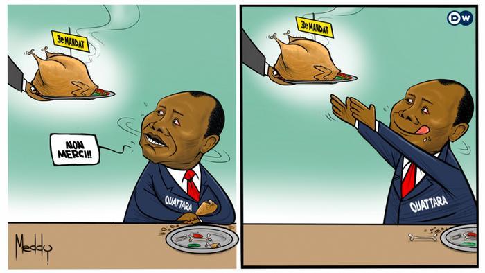 A cartoon showing Alassane Ouattara being served a chicken