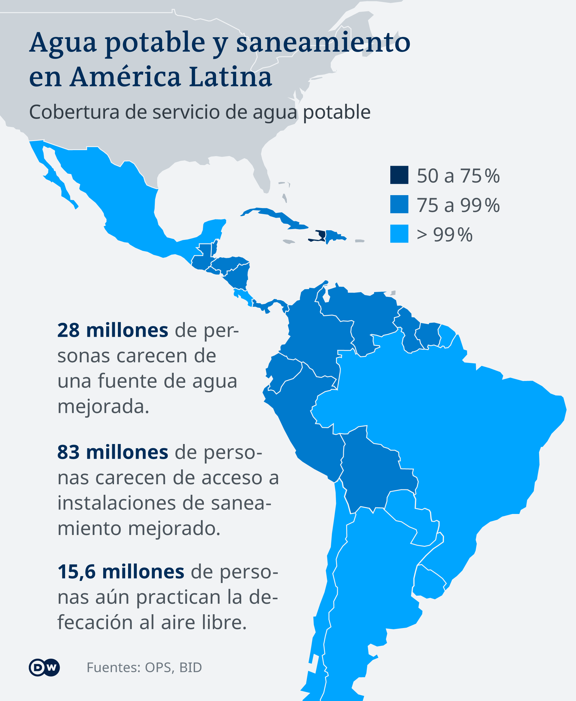 Infografik Karte Wasser in Lateinamerika ES