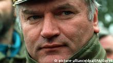 ARCHIV - Der Befehlshaber der bosnischen Serben, General Ratko Mladic, in Bosnien-Herzegowina am 15.2.1994. Der serbische Ex-General Ratko Mladic, dem die schwersten Kriegsverbrechen seit 1945 in Europa zur Last gelegt werden, erscheint am Freitag (03.06.2011) erstmals vor seinen Richtern am UN-Tribunal in Den Haag. Foto: EPA/Guyot +++(c) dpa - Bildfunk+++ |