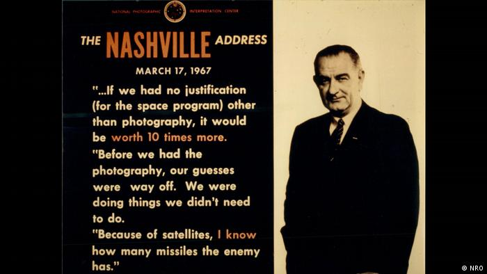 Printed message: President Johnson on the value of reconnaissance satellites for US National Security